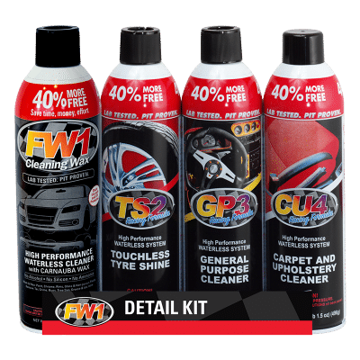 FW1 Detail Kit. Contains FW1 Cleaning Wax, Touchless Tyre Shine, General Purpose Cleaner and Carpet and Upholstery Cleaner.